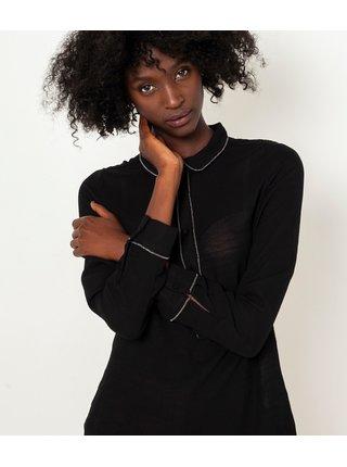 Černá průsvitná dlouhá halenka CAMAIEU