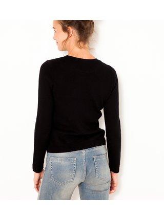 Černý svetr s ozdobnými knoflíky CAMAIEU