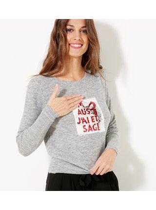 Svetlošedý sveter s magickými flitrami CAMAIEU