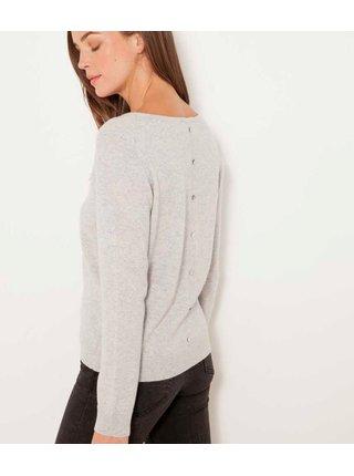 Světle šedý vlněný svetr s příměsí kašmíru CAMAIEU