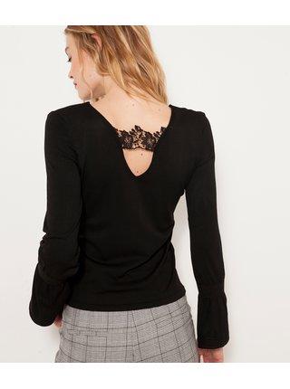Černé tričko s krajkovým detailem CAMAIEU