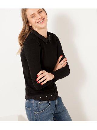 Černý svetr s všitou košilovou částí CAMAIEU