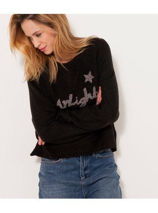 Tmavohnedý sveter so zipsom na chrbte CAMAIEU