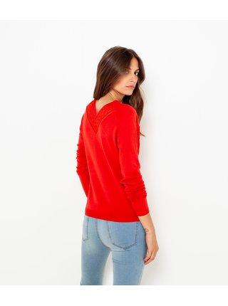 Červený lehký svetr s ozdobnými detaily CAMAIEU