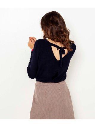Tmavě modrý lehký svetr se zavazováním na zádech CAMAIEU
