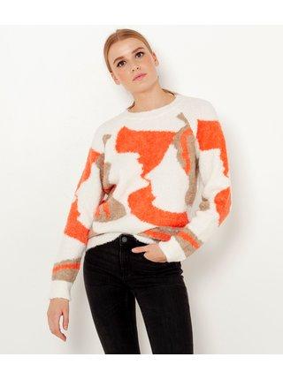Oranžovo-biely vzorovaný sveter CAMAIEU