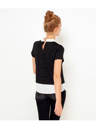 Černé tričko s všitou halenkovou částí CAMAIEU