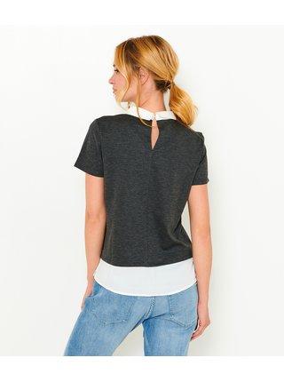 Tmavě šedé tričko s všitou halenkovou částí CAMAIEU