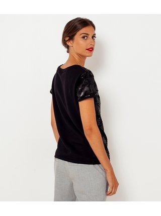 Čierne tričko s flitrami CAMAIEU
