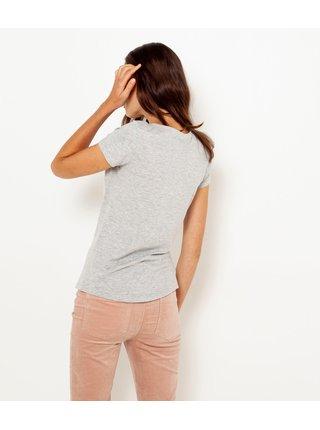 Světle šedé tričko s potiskem CAMAIEU