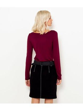 Tričká s krátkym rukávom pre ženy CAMAIEU - vínová