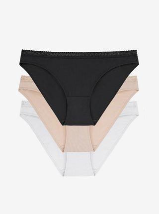 Sada tří kalhotek v černé, bílé a béžové barvě DORINA Zanna-3pp