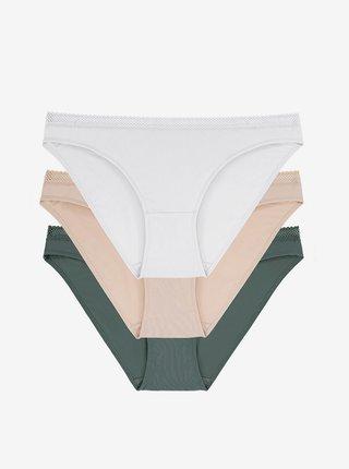Sada tří kalhotek v zelené, béžové a bílé barvě DORINA Zanna-3pp