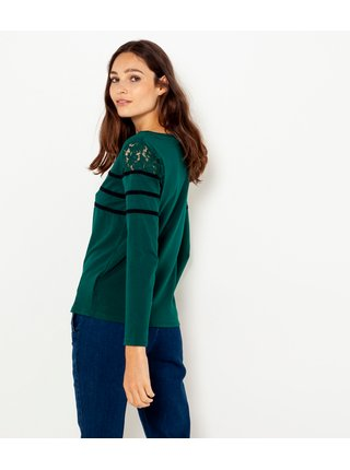 Tmavě zelené tričko s krajkou CAMAIEU