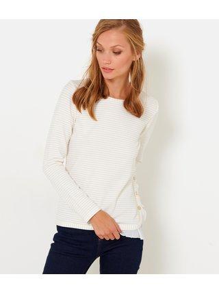Bílé pruhované tričko s všitou halenkovou částí CAMAIEU