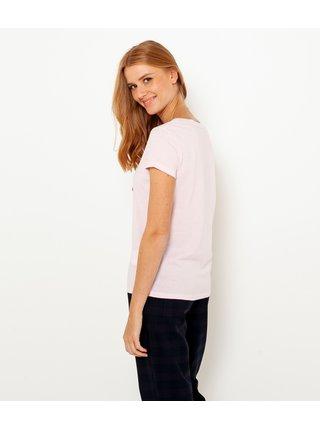 Světle růžové tričko s potiskem CAMAIEU