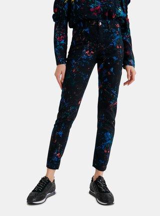 Černé dámské vzorované zkrácené slim fit džíny  Desigual Splatter