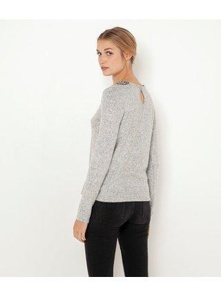 Svetlošedý žíhaný ľahký sveter CAMAIEU