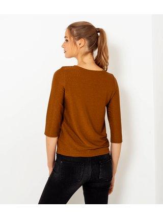 Tričká s dlhým rukávom pre ženy CAMAIEU - hnedá