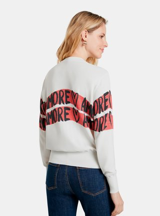 Biely dámsky sveter s nápismi Desigual Amore Amore