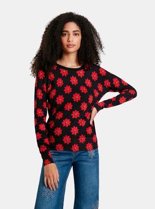 Červeno-čierny dámsky kvetovaný sveter Desigual Nicaragua