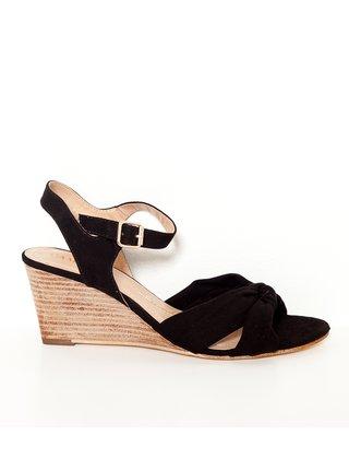 Černé sandále na klínku v semišové úpravě CAMAIEU