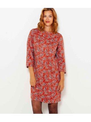 Červené vzorované šaty s 3/4 rukávom CAMAIEU