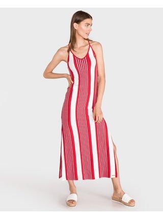 Voľnočasové šaty pre ženy Superdry - červená, biela