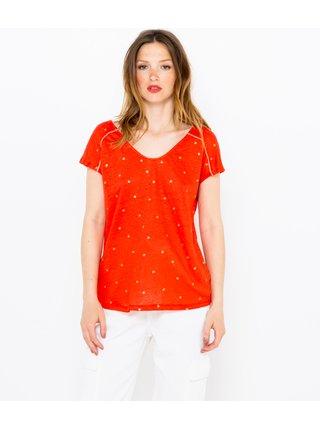 Oranžové puntíkované lněné tričko CAMAIEU