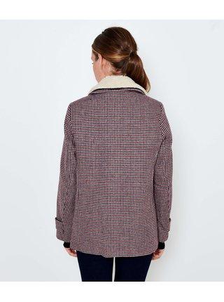 Šedý kostkovaný krátký kabát s příměsí lnu CAMAIEU