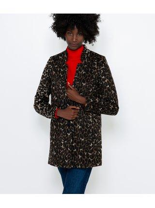 Hnedý krátky kabát s prímesou ľanu s gepardím vzorom CAMAIEU