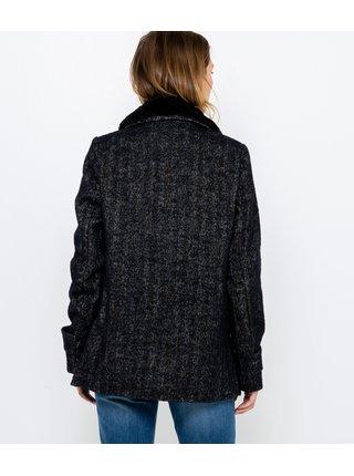 Černý krátký kabát s příměsí lnu s umělým kožíškem CAMAIEU