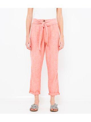 Ružové ľanové skrátené nohavice CAMAIEU