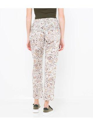 Bílé vzorované lněné zkrácené kalhoty CAMAIEU