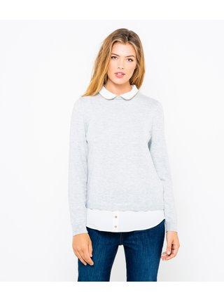 Svetlošedý sveter s limcom CAMAIEU
