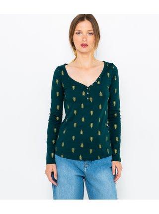 Tmavě zelené vzorované tričko CAMAIEU