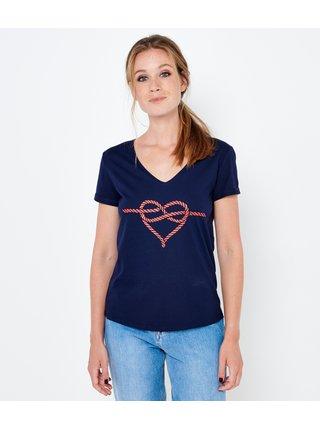 Modré tričko s potlačou CAMAIEU