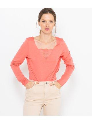 Růžové tričko s krajkou CAMAIEU