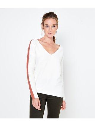 Bílý svetr s véčkovým výstřihem CAMAIEU
