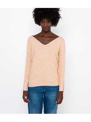 Béžový svetr s véčkovým výstřihem CAMAIEU
