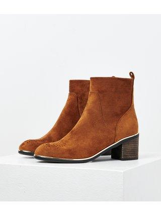 Hnědé kotníkové boty v semišové úpravě CAMAIEU