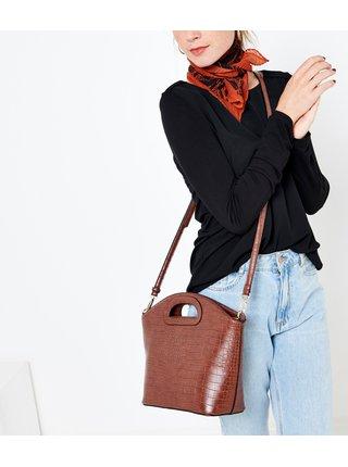 Hnedá kabelka s krokodýlím vzorom CAMAIEU