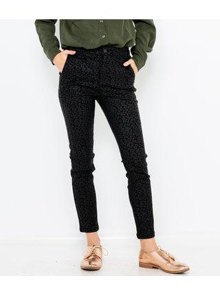 Černé slim fit kalhoty s leopardím vzorem CAMAIEU