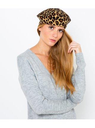 Světle hnědý baret s leopardím vzorem CAMAIEU