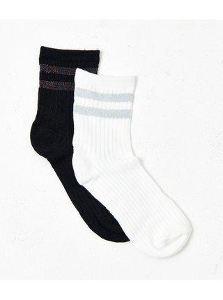 Sada dvoch párov ponožiek v čiernej a bielej farbe CAMAIEU