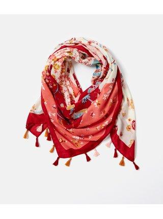 Bílo-červená květovaná šála CAMAIEU