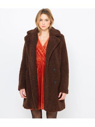 Hnědý zimní kabát CAMAIEU