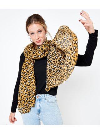 Žlutý šátek s leopardím vzorem CAMAIEU