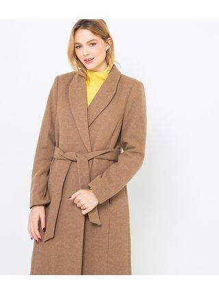 Hnědý dlouhý kabát s příměsí vlny CAMAIEU