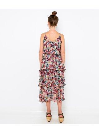 Růžové vzorované midi šaty CAMAIEU